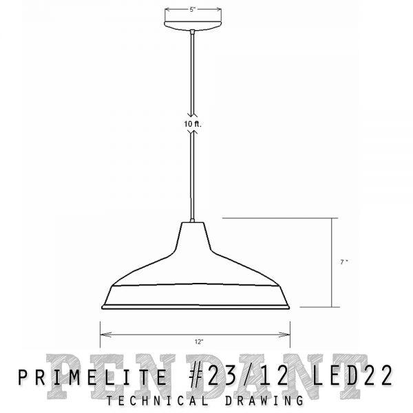 Technical Drawing Primelite Pendant #23/12 LED22