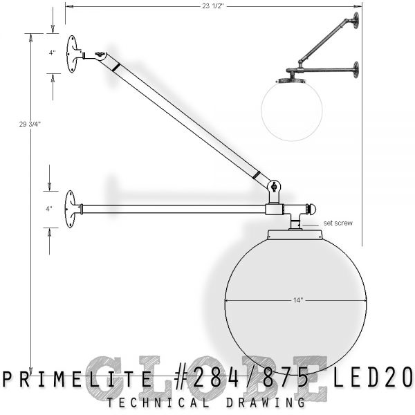 Technical drawingWall Mount Globe #284-875 LED20