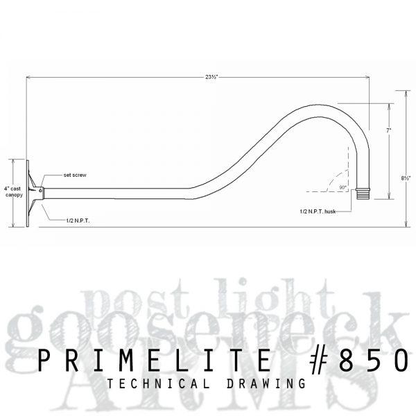 techcnical drawing gooseneck arm #850