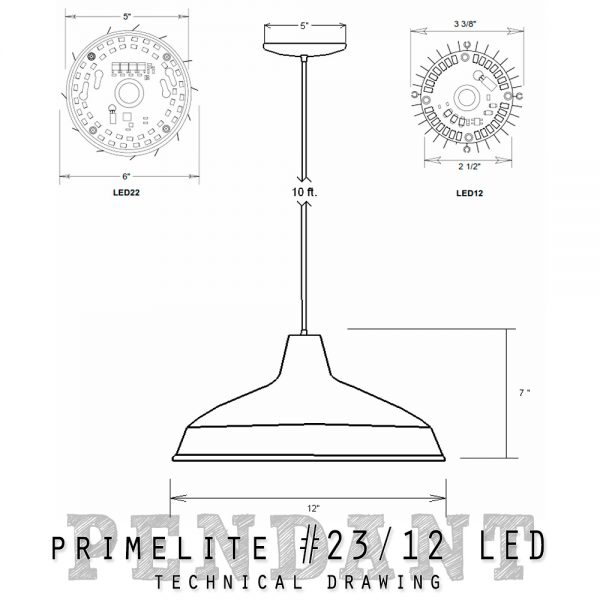 Technical drawing pendant #23/12 LED
