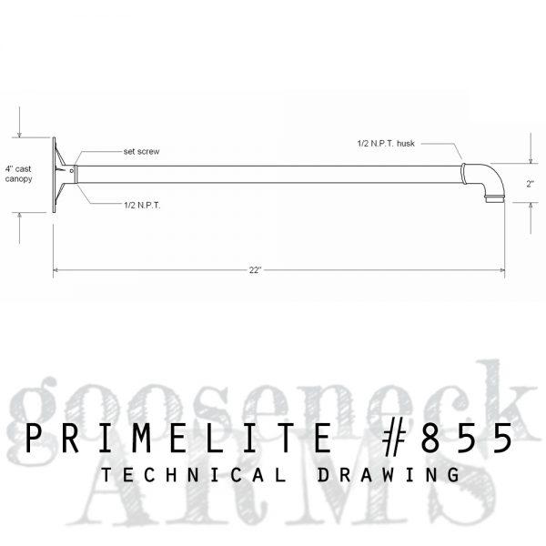 technical drawing gooseneck arm #855