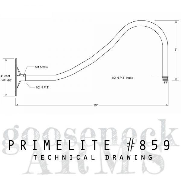 technical drawing gooseneck arm #859