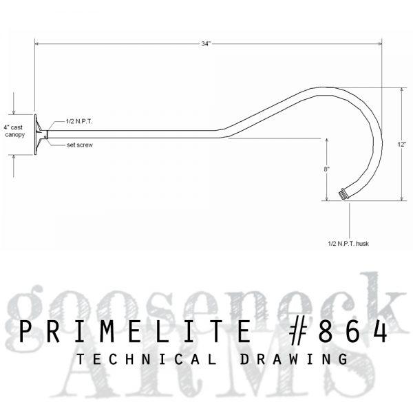 Technical drawing Gooseneck Arm #864