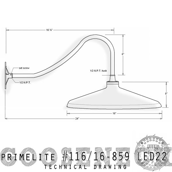 technical drawing; gooseneck #116/16-859 LED22