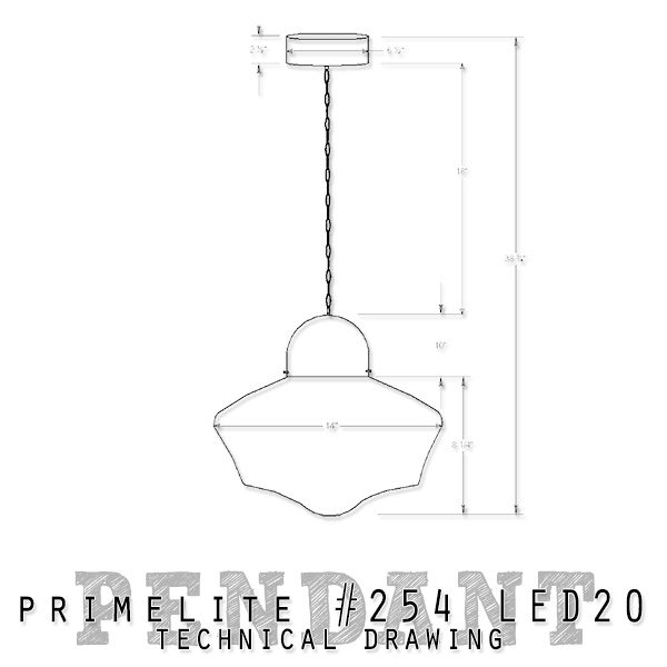 technical drawing Primelite School House Globe Pendant #254