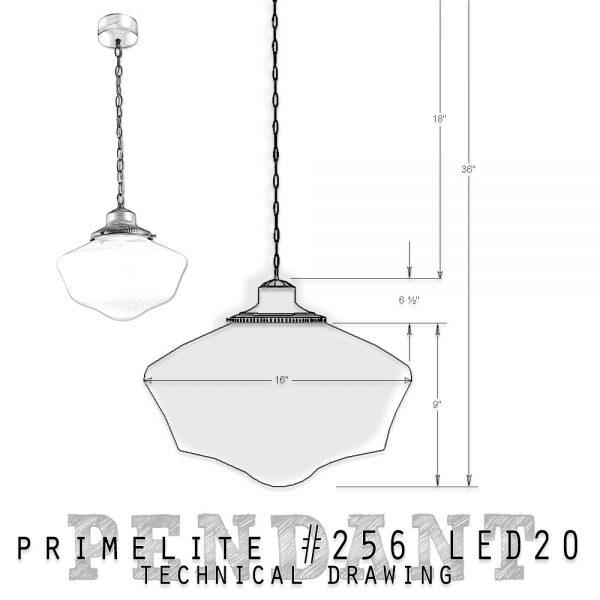 technical drawing Primelite School House Globe Pendant #254
