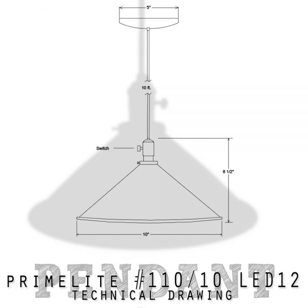 Technical drawing pendant #110/10 LED12