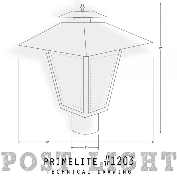 technical drawing post light #1203