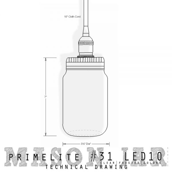 mason jar series #31 LED10 technical drawing
