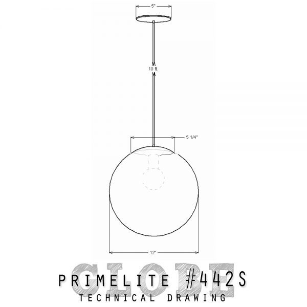 "technical drawing 12"" Glass globe"