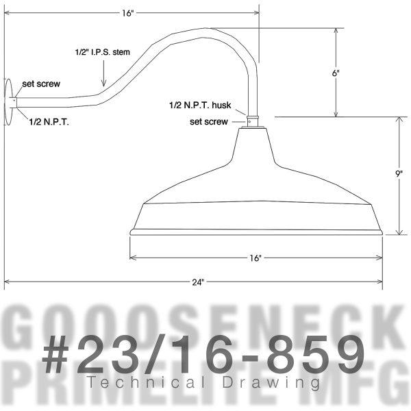 technical drawing - Gooseneck Light #23/16-859 LED12